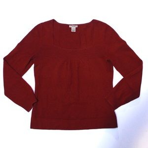 Deep Wine 100% Cashmere Square Neck 2ply Sweater